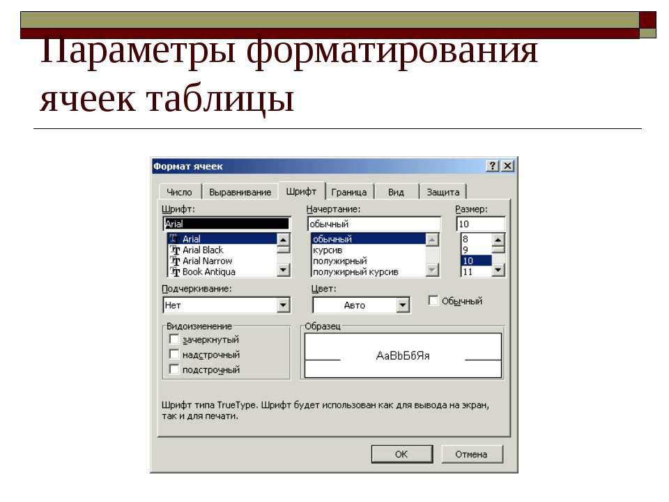 Параметры форматирования ячеек таблицы