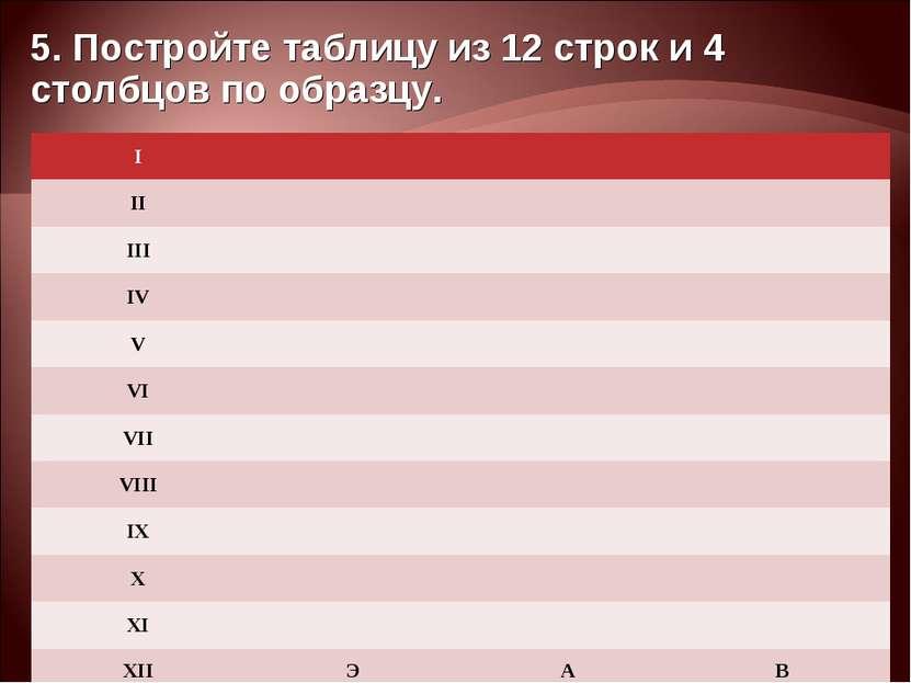 5. Постройте таблицу из 12 строк и 4 столбцов по образцу. I    II  ...