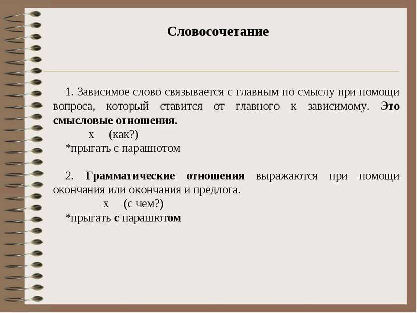 Словосочетание 1. Зависимое слово связывается с главным по смыслу при помощи ...