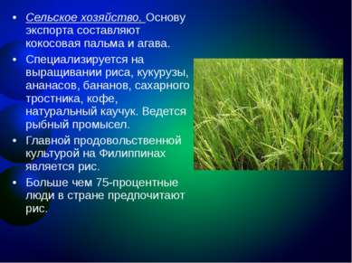 Сельское хозяйство. Основу экспорта составляют кокосовая пальма и агава. Спец...