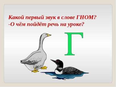 Какой первый звук в слове ГНОМ? -О чём пойдёт речь на уроке?