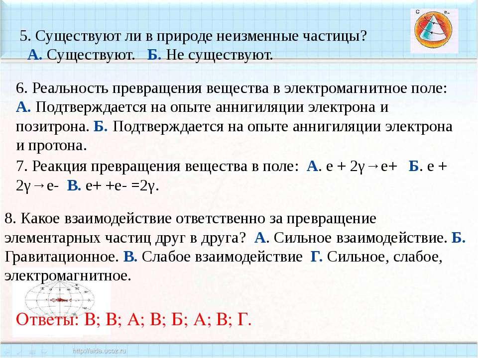 6. Реальность превращения вещества в электромагнитное поле: А. Подтверждается...