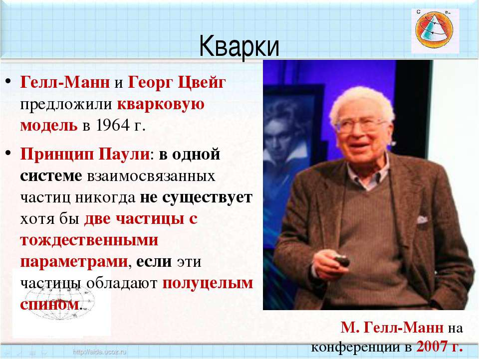 Кварки Гелл-Манн и Георг Цвейг предложили кварковую модель в 1964 г. Принцип ...