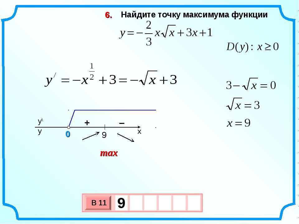Найдите точку максимума функции 6. max