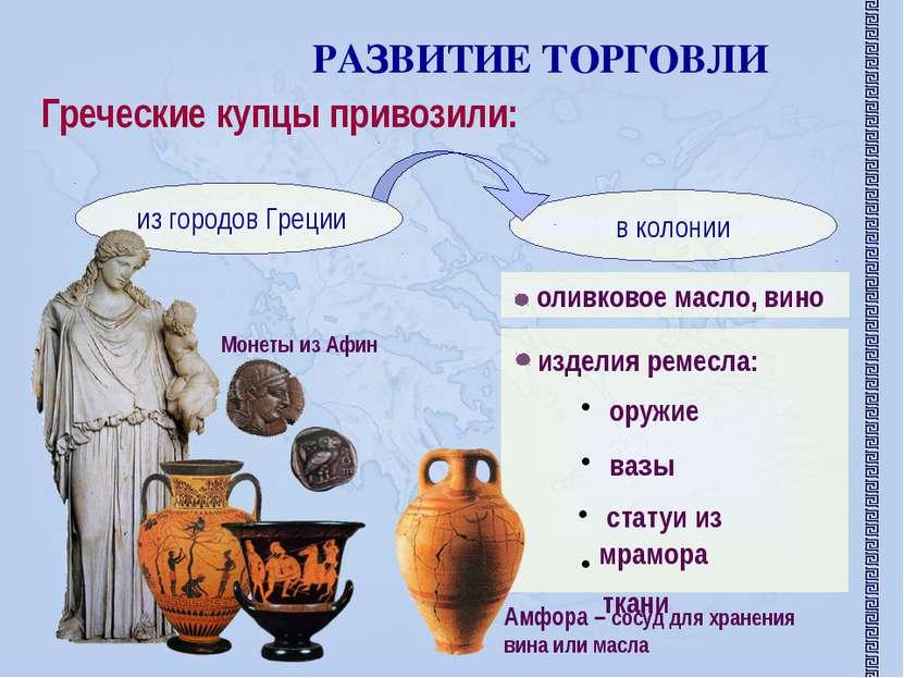 РАЗВИТИЕ ТОРГОВЛИ Греческие купцы привозили: оливковое масло, вино изделия ре...