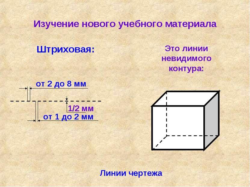 Изучение нового учебного материала Линии чертежа Штриховая: Это линии невидим...