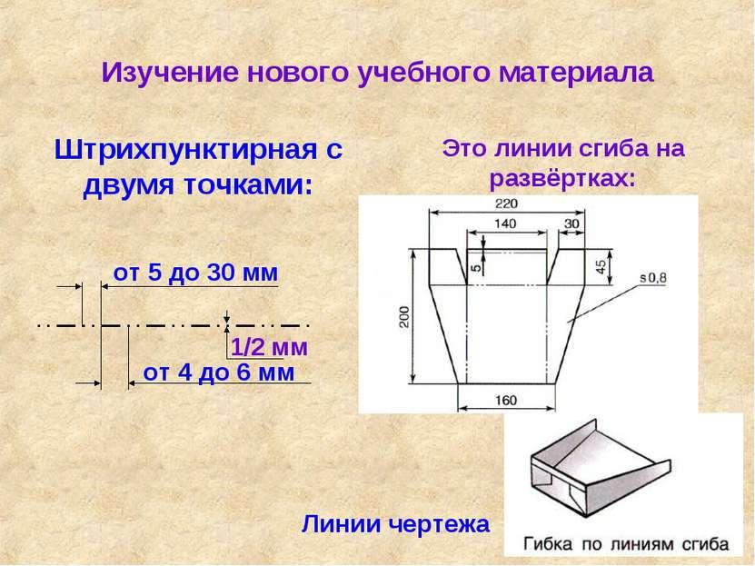 Изучение нового учебного материала Линии чертежа Штрихпунктирная с двумя точк...