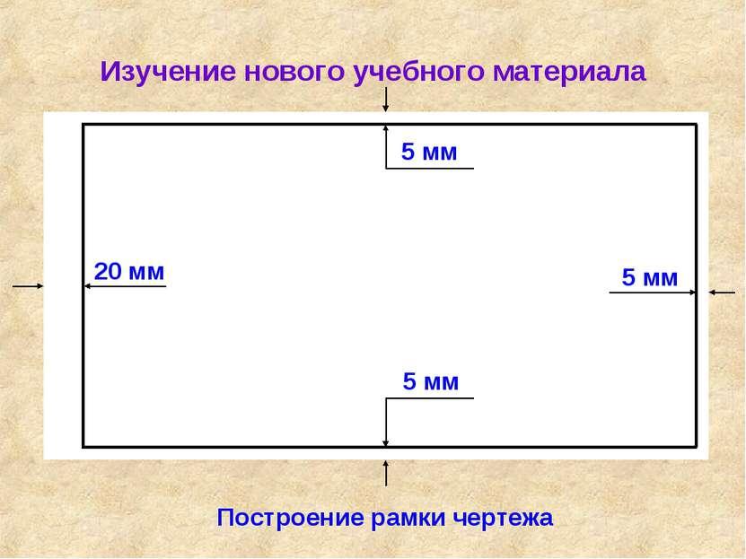 Изучение нового учебного материала Построение рамки чертежа 20 мм 5 мм 5 мм 5 мм