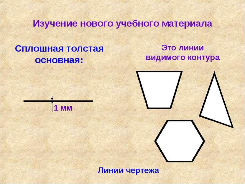 Изучение нового учебного материала Линии чертежа Сплошная толстая основная: Э...