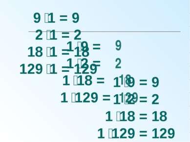 1 9 = 1 2 = 1 18 = 1 129 = 9 2 18 129 9 1 = 9 2 1 = 2 18 1 = 18 129 1 = 129 1...