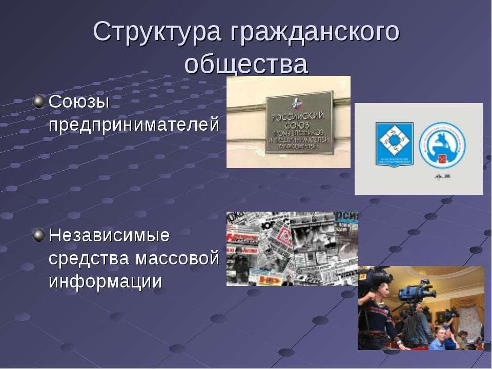 Структура гражданского общества Союзы предпринимателей Независимые средства м...