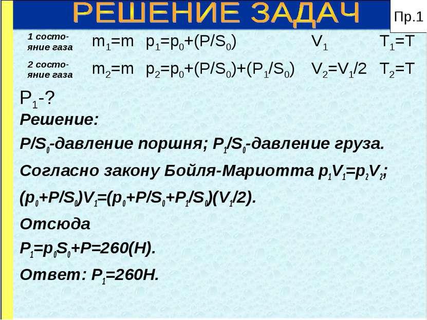 P1-? Решение: P/S0-давление поршня; P1/S0-давление груза. Согласно закону Бой...