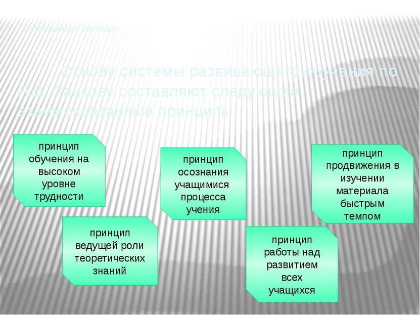 Развивающее обучение Основу системы развивающего обучения по Л.В. Занкову сос...
