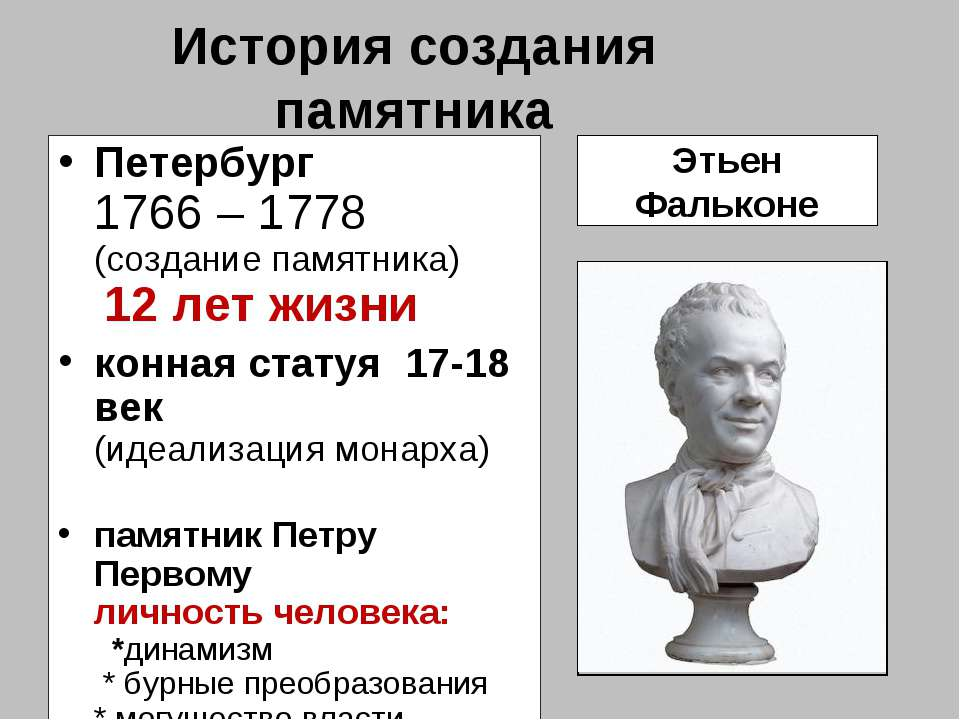 История создания памятника Петербург 1766 – 1778 (создание памятника) 12 лет ...