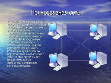 Полносвязная сеть Топология компьютерной сети , в которой каждая рабочая стан...