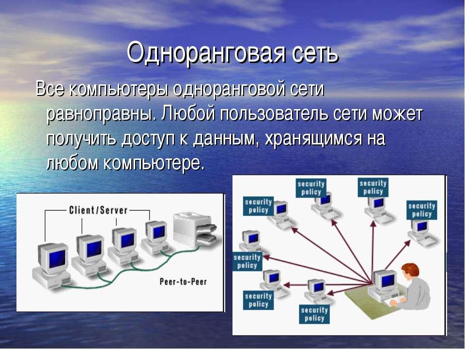 Одноранговая сеть Все компьютеры одноранговой сети равноправны. Любой пользов...
