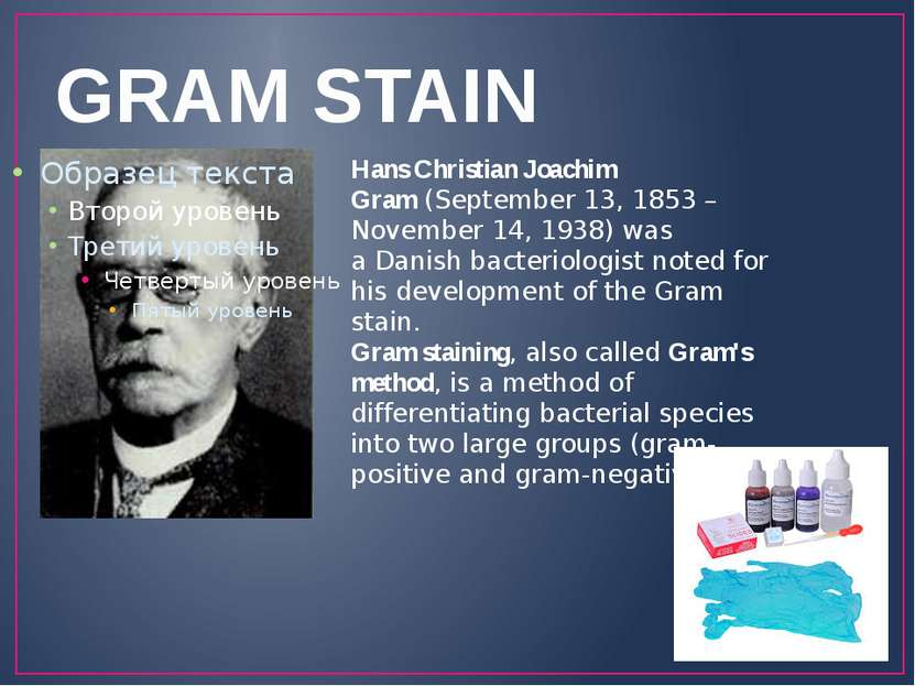 GRAM STAIN Hans Christian Joachim Gram (September 13, 1853 – November 14, 193...