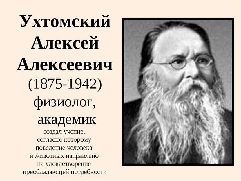 Ухтомский Алексей Алексеевич (1875-1942) физиолог, академик создал учение, со...