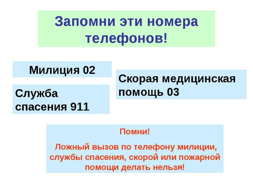 Запомни эти номера телефонов! Милиция 02 Скорая медицинская помощь 03 Служба ...