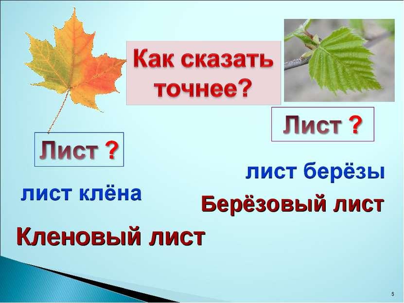 * Кленовый лист Берёзовый лист
