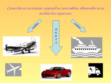 Самолёт не полетит, пароход не поплывёт, автомобиль не поедет без горючего. Н...