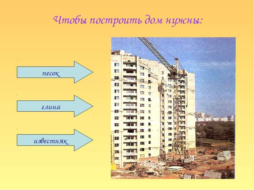 Чтобы построить дом нужны: известняк глина песок