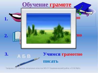 Обучение грамоте А Б В 1. 2. 3. учимся грамотно говорить учимся грамотно чита...