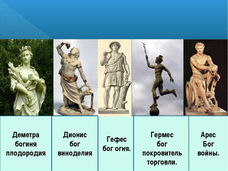 Деметра богиня плодородия Гефес бог огня. Гермес бог покровитель торговли. Ар...