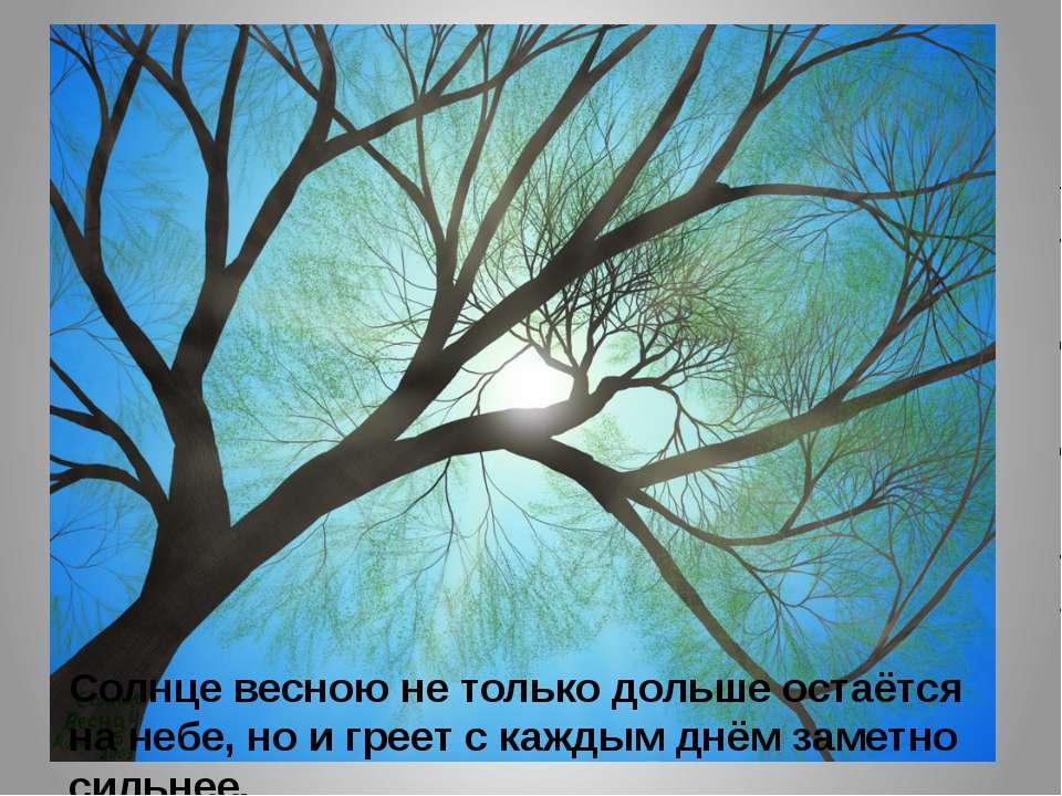 Солнце весною не только дольше остаётся на небе, но и греет с каждым днём зам...