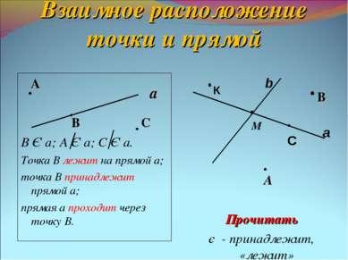 Взаимное расположение точки и прямой А В С В Є а; А Є а; С Є а. Точка В лежит...