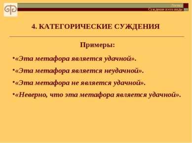 4. КАТЕГОРИЧЕСКИЕ СУЖДЕНИЯ Логика Суждение и его виды Примеры: «Эта метафора ...