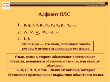 Алфавит ЯЛС Логика Суждение и его виды 1. p, q, r, s, p1, q1, r1, s1, p2, q2,...