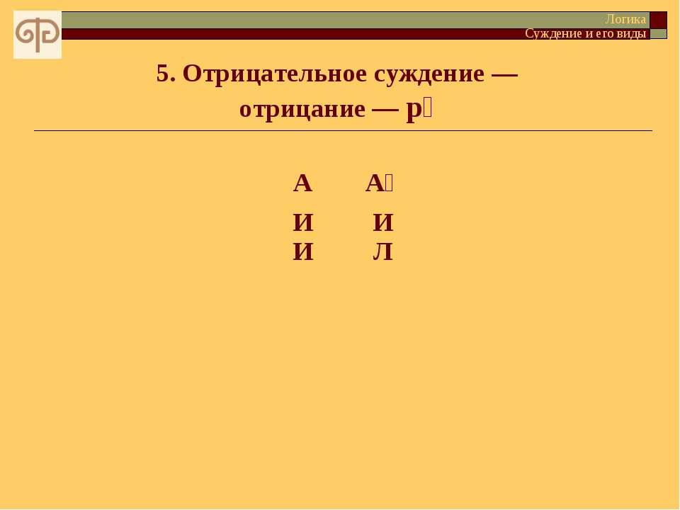 5. Отрицательное суждение — отрицание — p Логика Суждение и его виды А А И И И Л