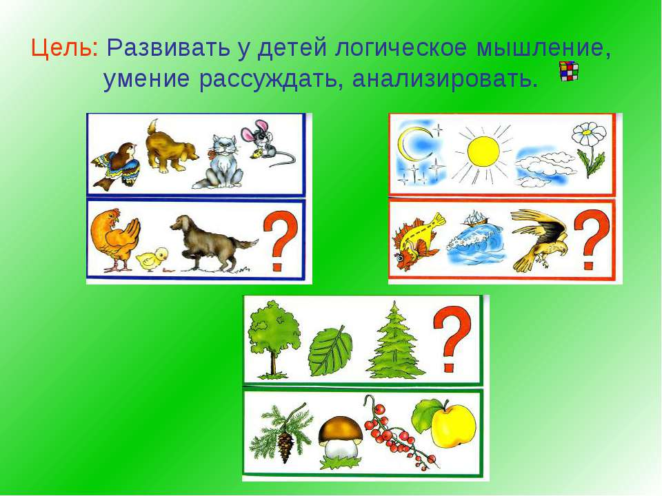 Цель: Развивать у детей логическое мышление, умение рассуждать, анализировать.