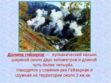 Долина гейзеров— вулканический каньон шириной около двух километров и длиной...