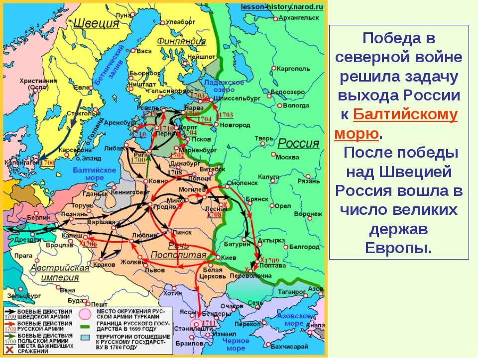 Победа в северной войне решила задачу выхода России к Балтийскому морю. После...