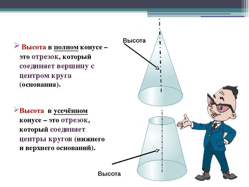 Вывод: Полную поверхность усеченного конуса составляет боковая поверхность и ...