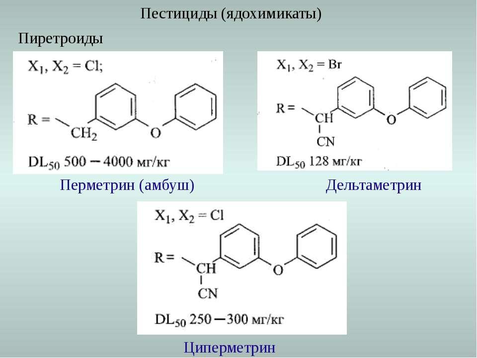Пестициды (ядохимикаты) Перметрин (амбуш) Пиретроиды Дельтаметрин Циперметрин