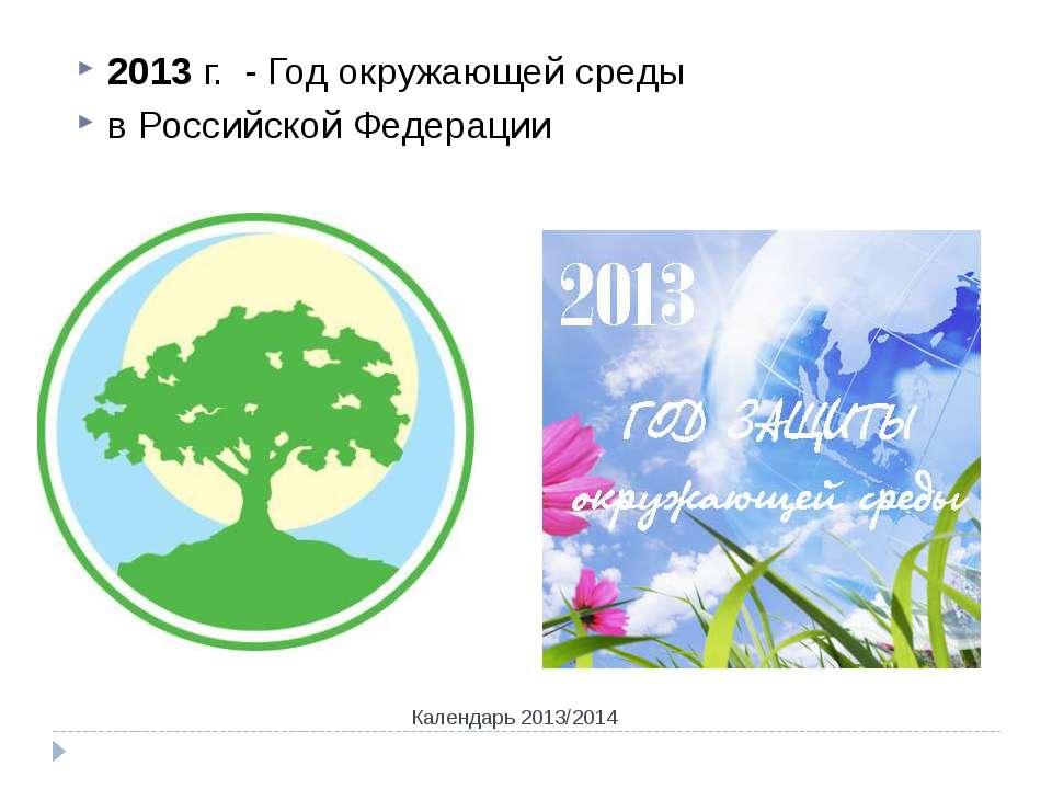Календарь 2013/2014 2013 г. - Год окружающей среды в Российской Федерации Кал...