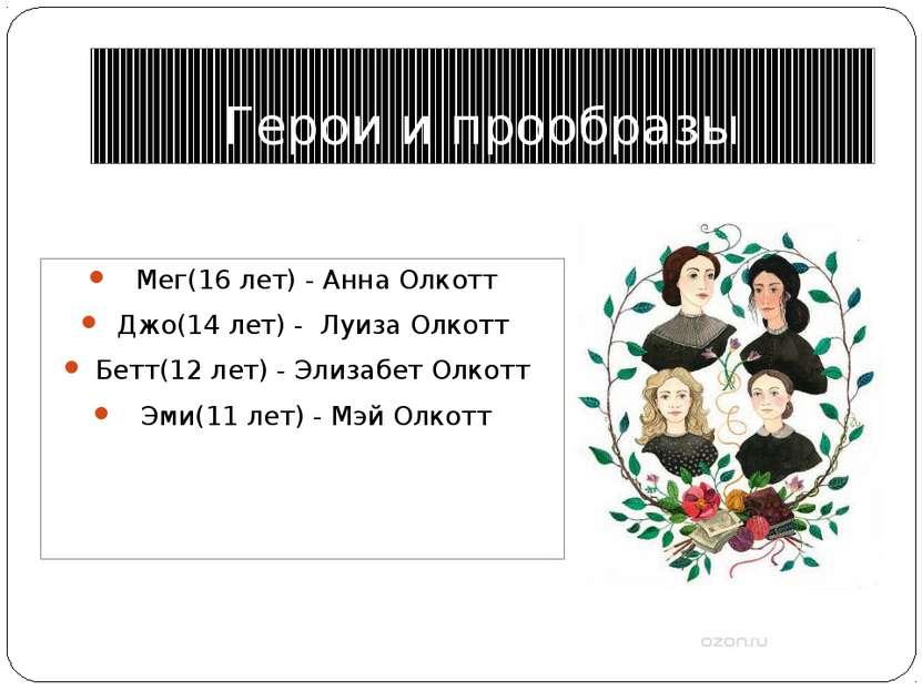 Герои и прообразы Мег(16 лет) - Анна Олкотт Джо(14 лет) - Луиза Олкотт Бетт(...