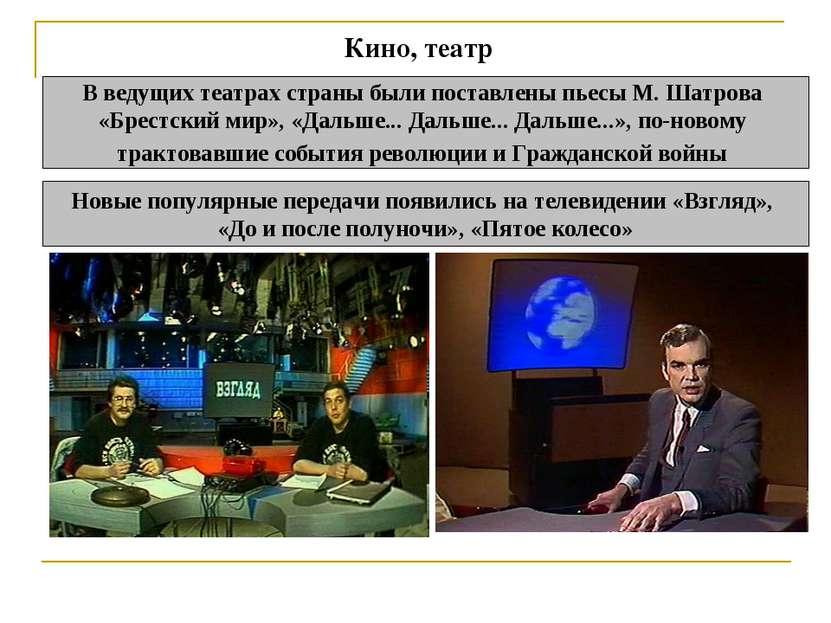 Кино, театр В ведущих театрах страны были поставлены пьесы М. Шатрова «Брест...