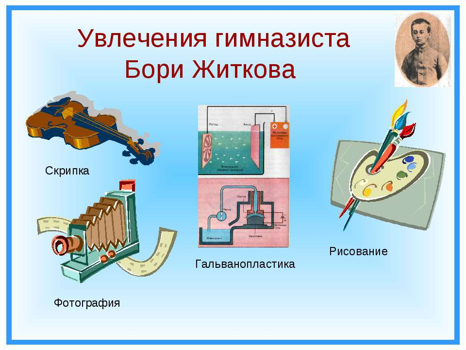 Увлечения гимназиста Бори Житкова Скрипка Фотография Рисование Гальванопластика