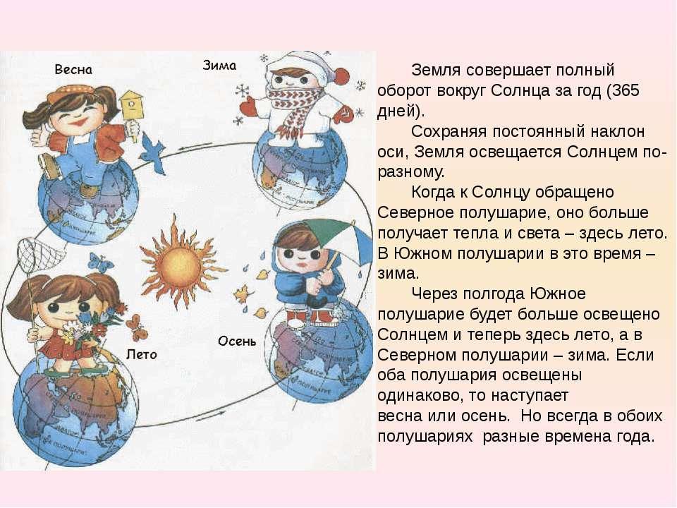 Земля совершает полный оборот вокруг Солнца за год (365 дней). Сохраняя посто...