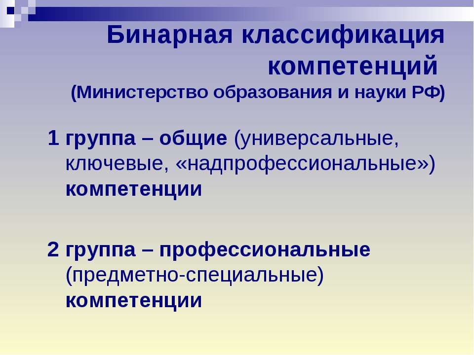 Бинарная классификация компетенций (Министерство образования и науки РФ) 1 гр...