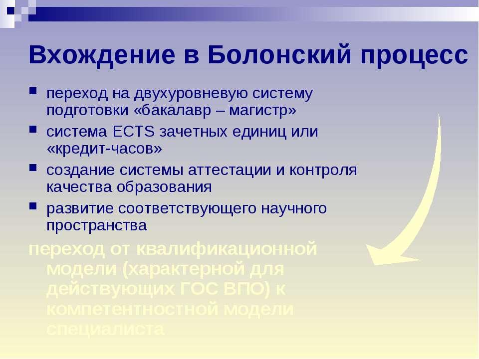 с какого года болонская система в россии
