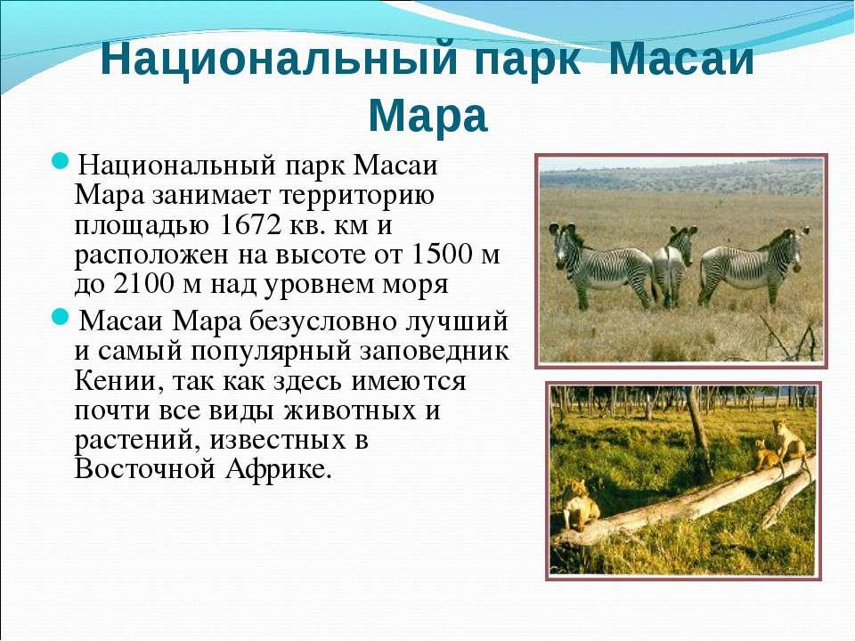 Национальный парк Масаи Мара Национальный парк Масаи Мара занимает территорию...