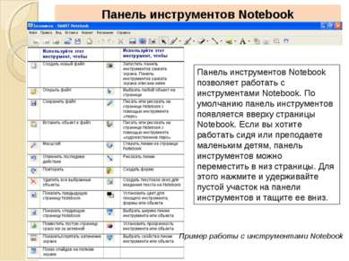 Панель инструментов Notebook Панель инструментов Notebook позволяет работать ...