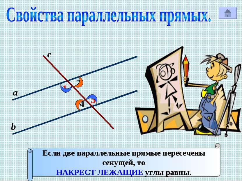 1 с Р 2 3 4 а b Если две параллельные прямые пересечены секущей, то НАКРЕСТ Л...
