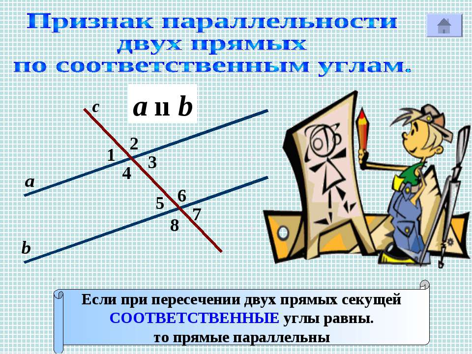 2 1 4 с Р 7 3 8 6 5 а b Если при пересечении двух прямых секущей СООТВЕТСТВЕН...