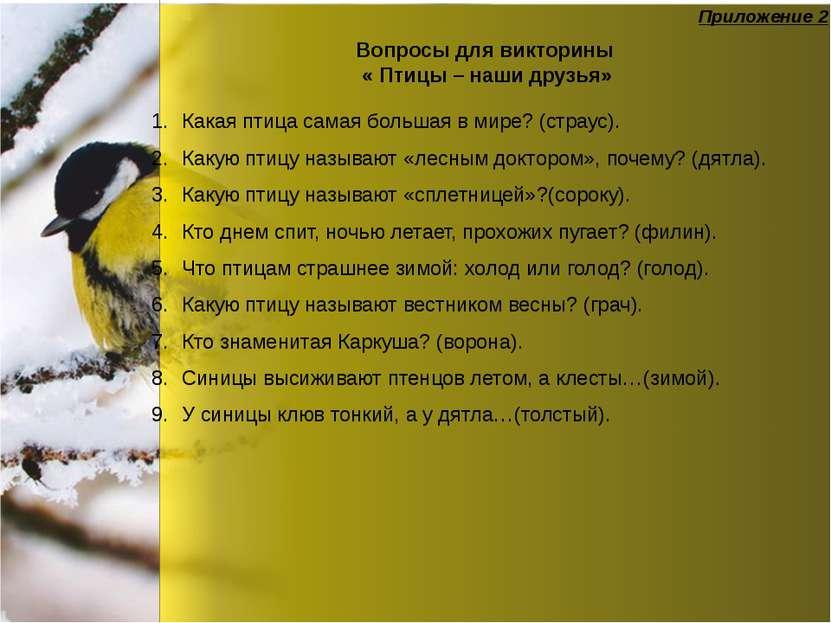 Вопросы для викторины « Птицы – наши друзья» Какая птица самая большая в мире...